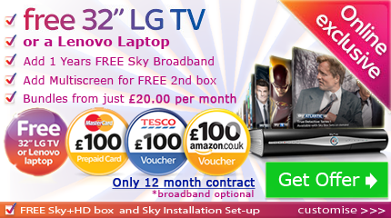 Sky TV with free Laptop or Reward